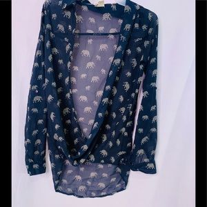 Hi-low blue and cream Long sleeve Blouse